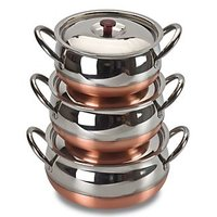 Set Of 3 Copper Based Haandi Set With Lid Cover