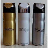 Set Of 3 Baug Sons Deodorants (Deo) For Men Creation Gold + White + Silver 200 Ml Each