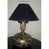 Modern Table Lamp With Black Shade In Two-Tone Bronze Finish