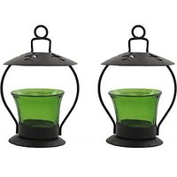 Sutra Decor Iron Votive Glass 2 - Cup Tealight Holder Set(Green, Pack Of 2)