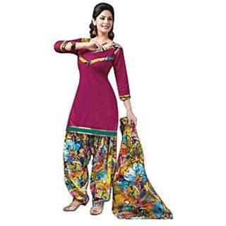 Dfolks Womens Cotton Printed Pink Patiyala(Unstitched) Df0110
