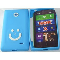 Branded Smiley Designer TPU Silicone Back Case For NOKIA X BL&WH