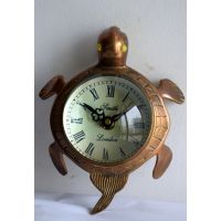 Antique Brass Metal Vintage Table Clock With Tortoise