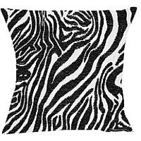 Moneysaver Fabric Texture Zebra Print (16X16) Cushions Cover (Pack Of 1) CC00672