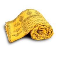 Paisley Designer Yellow Jaipuri Double Bed Quilt 334