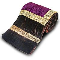Jaipuri Dark Brown Printed Double Bed Velvet Quilt 404
