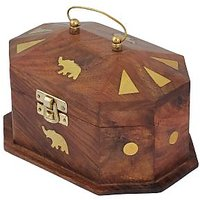 Crafts'man Wooden Jewelery Box With Embossed Brass Elephant
