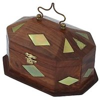 Crafts'man Wooden Jewellery Box With Embossed Brass