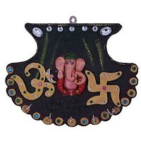 Wall Hanging Fan Shape Ganesha With Key Holder Handcrafted