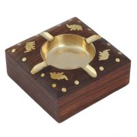 Wood With Brass Inlay Work Decorative Wooden Ashtray