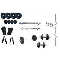 Welkin 22 Kg Rubber Plates + 3 Ft Curl Bar + Dumbells Rods Home Gym Set