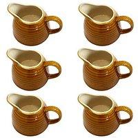 Sauce Set - Sauce Boat Set -  Ceramic Sauce Set - Brown Color - Set Of 6