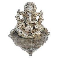 Bajya Silver Lord Ganesha Statue On Leaf