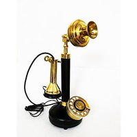 Attractive Black Brass Rotary Dial Telephone Home Office Collectible Decor Item