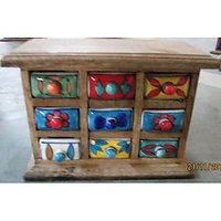 WOODEN CHEST DRAWER BOX WITH 9 CERAMIC DRAWERS.
