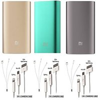 Pack Of 3 Mi 10400 MAH Power Bank  With 3 In 1 Usb Charger 3,  3 In 1 Usb Charge