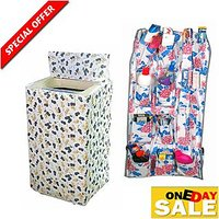 Combo - Washing Machine Cover For Top Load Automatic and Best Bathroom Hanging shelf