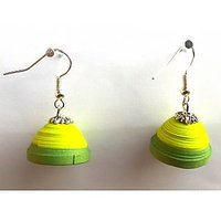 CHUKKI QUILLINGS JHUMKAS- GREEN AND LEMON YELLOW WITH BEADS AND STONES