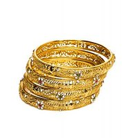 Joyas Gold And Multicolour Stone Bangle Set For Women_12975_2.4
