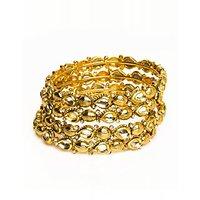 Joyas Gold And White Bangle Set For Women_12991_2.4