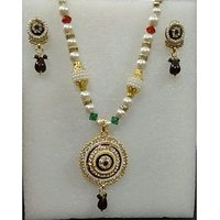 Beautiful Diamond Studded Pendant In Pearl Necklace & Ear-rings