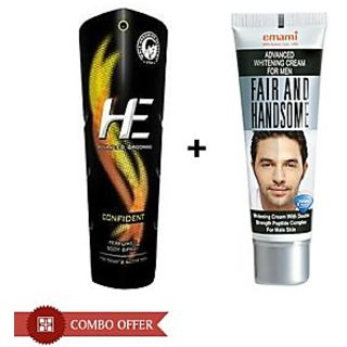Combo of He Deo (Confident 150 ml) and Fair & Handsome Cream (30 gm)