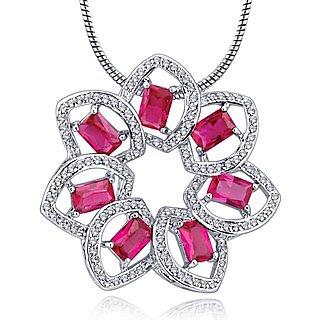 Alamod Fashion Ruby Floral Pendant Brooch ALBP 5003