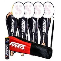 4 SILVER'S FIRE BADMINTON RACKETS WITH 4 INDIVIDUAL 3/4TH COVERS(ASSORTED) & 1 BOX SILVER'S SHUTTLECOCK MARVEL(PACK OF 10) & 1 SILVER'S KITBAG( 1 COMPARTMENT & 1 POCKET)