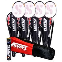 4 SILVER'S KINETIC BADMINTON RACKETS WITH 4 INDIVIDUAL 3/4TH COVERS(ASSORTED) & 1 BOX SILVER'S SHUTTLECOCK MARVEL(PACK OF 10) & 1 SILVER'S KITBAG( 1 COMPARTMENT & 1 POCKET)