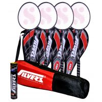 4 SILVER'S PRO-170 BADMINTON RACKETS WITH 4 INDIVIDUAL 3/4TH COVERS(ASSORTED) & 1 BOX SILVER'S SHUTTLECOCK MARVEL(PACK OF 10) & 1 SILVER'S KITBAG( 1 COMPARTMENT & 1 POCKET)