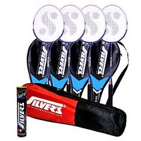 4 SILVER'S SB-818 BADMINTON RACKETS WITH 4 INDIVIDUAL 3/4TH COVERS(ASSORTED) & 1 BOX SILVER'S SHUTTLECOCK MARVEL(PACK OF 10) & 1 SILVER'S KITBAG( 1 COMPARTMENT & 1 POCKET)