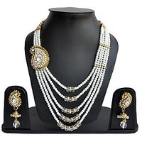 The Pari Designer Pearl Necklace Set with Earrings