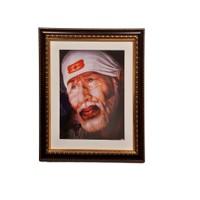 KK Sri Sai Baba'S Crowned Brown Mount Frame 11X13