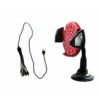 Accedre 5 In 1 Multiple Car Mobile Charger Spiderman Mobile Holder-Red