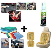 Combo - Car Micro Fibre Cleaning Cloth Car Wooden Bead Seat Cushion, Car Bike & Scooter Liquied Polish