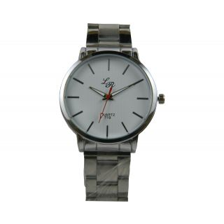 LR A New Stylish Round Dial Metal Silver Color Strap Men Wrist Watch.
