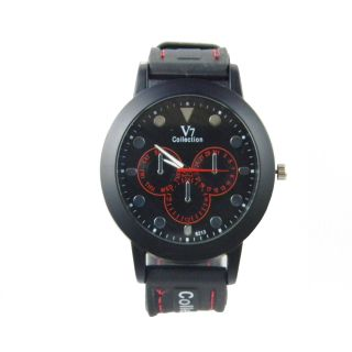 New Model V7Collection Stylish RubberBelt Men Wrist Watch With Red White Designe