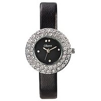 Oleva Ladies Leather Watch with Genuine Leather Strap OLW-16 BLACK