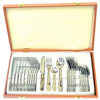 Lacuzini 24Pcs Goldy Gold Cutlery Set In Wooden Box