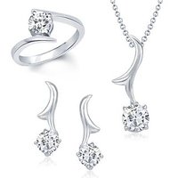 VK Jewels Stylish Solitaire Combo Ring & Pendant Set -VKCOMBO1001R