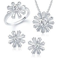 VK Jewels Eight Petal Solitaire Combo Ring & Pendant Set -VKCOMBO1002R
