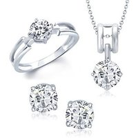 VK Jewels Elegant Solitaire Combo Ring & Pendant Set -VKCOMBO1003R