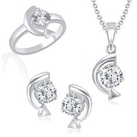 VK Jewels Arrow Curve Solitaire Combo Ring & Pendant Set -VKCOMBO1004R