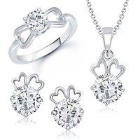 VK Jewels Efflorescent Solitaire Combo Ring & Pendant Set -VKCOMBO1005R