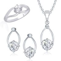 VK Jewels Oval Shaped Solitaire Combo Ring & Pendant Set -VKCOMBO1006R