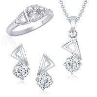 VK Jewels Passionate Solitaire Combo Ring & Pendant Set -VKCOMBO1007R