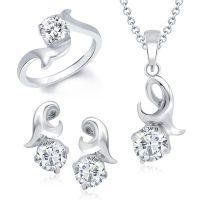 VK Jewels Divine Solitaire Combo Ring & Pendant Set -VKCOMBO1009R