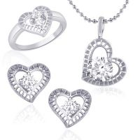 VK Jewels Marvelous Solitaire Combo Ring & Pendant Set -VKCOMBO1011R