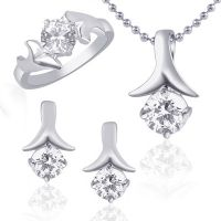 VK Jewels Excellent Solitaire Combo Ring & Pendant Set -VKCOMBO1012R