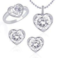 VK Jewels Graceful Solitaire Combo Ring & Pendant Set -VKCOMBO1013R